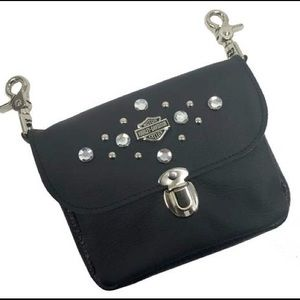 HD Rhinestone Bar & Shield Clip Hip Bag Black